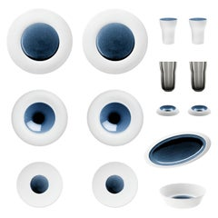 """Blue Silent"" Set of Biscuit Porcelain with Hand-Poured Glaze, Hering Berlin"