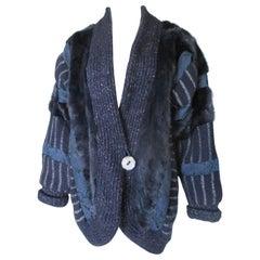 Blue Silver print Wool Mink Fur vest