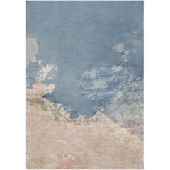 Himmelblauer zeitgenössischer Seidenteppich