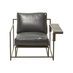 Blue Smoke Leather and Blackened Steel Armchair with Black Marble Wing Table