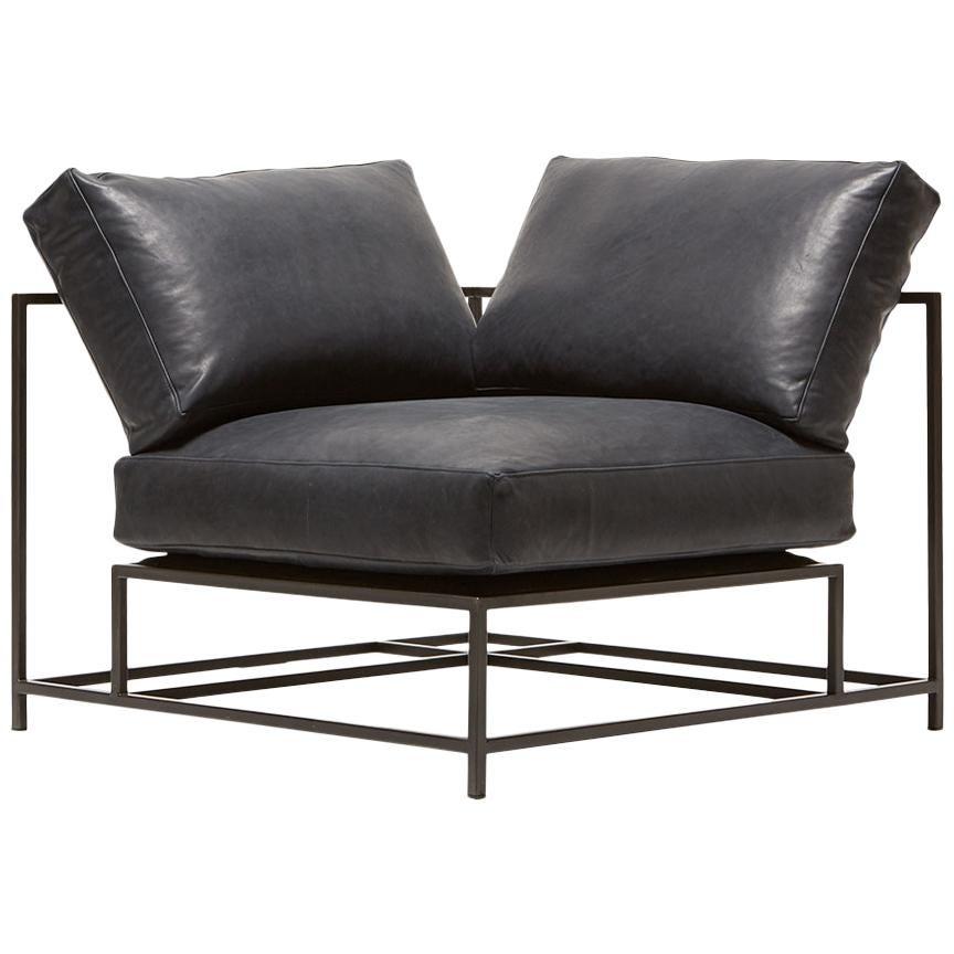 Blue Smoke Leather and Blackened Steel Corner Chair