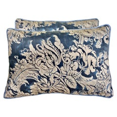 Blue and Silver Fortuny Textile Pillows