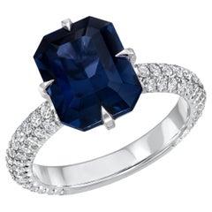 Blue Spinel Ring 4.01 Carat Emerald Cut