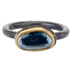 Blue Spinel Rose Cut Solitaire, 22 Karat Yellow Gold, Oxidized Silver Ring