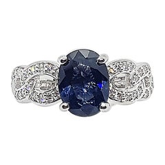 Certified Unheated Cobalt Blue Spinel with Diamond Ring in 18K White Gold