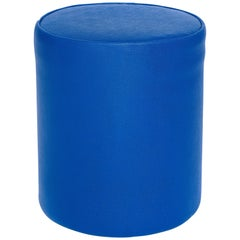 Blue Sport Pouf in Basketball Game-Ball Leather