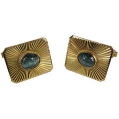 Blue Star Sapphire 18 Karat Gold Cufflinks