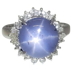 Blue Star Sapphire and White Diamond Cocktail Ring in Platinum
