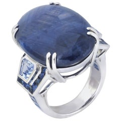 Blue Star Sapphire, Blue Sapphire Ring in 18 Karat White Gold Settings