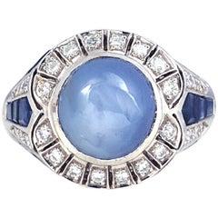Blue Star Sapphire, Blue Sapphire with Diamond Ring in 18 Karat Gold Setting