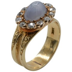 Blue Star Sapphire Diamond Antique Ring