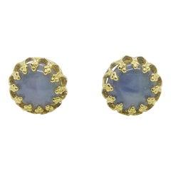 Blue Star Sapphire Earrings Set in 18 Karat Gold Settings
