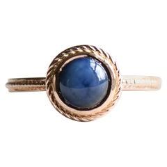 Blue Star Sapphire Ring, 14 Karat Rose Gold Sapphire Ring