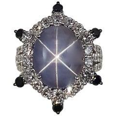 Blue Star Sapphire with Diamond and Black Diamond Ring in 18 Karat White Gold