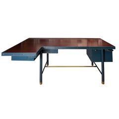 Blue Stitched Leather Desk by Jacques Adnet