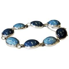 Blue stone silverbracelet by Ove Nordström, Sweden 1971