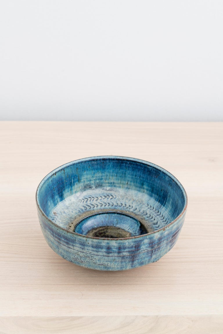 Unique stoneware bowl with blue glaze and impressed pattern by Gutte Eriksen  Incised with