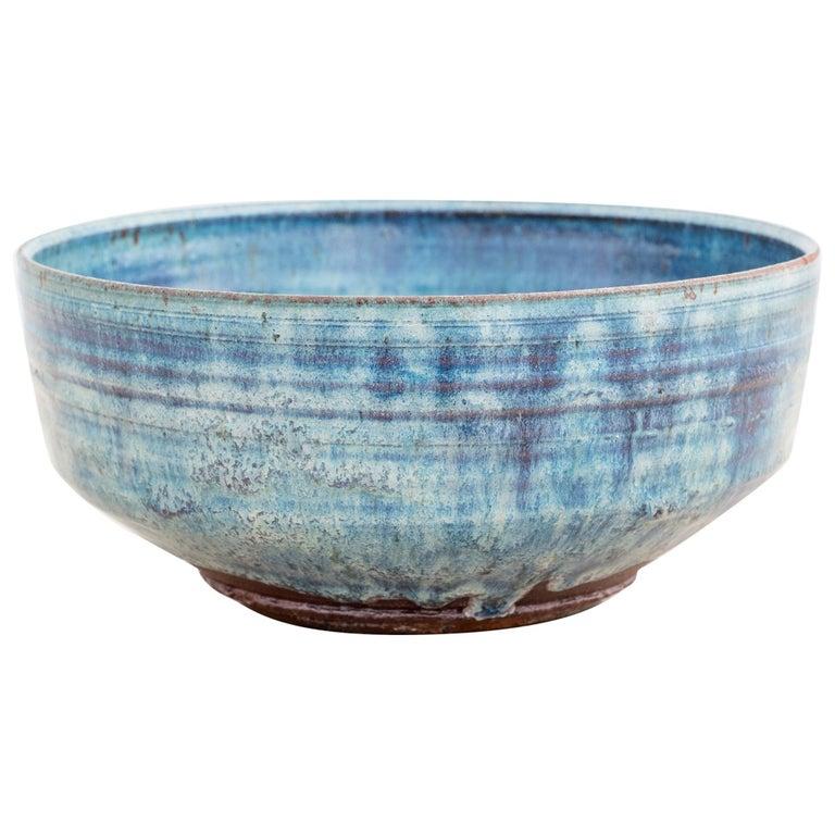 Blue Stoneware Bowl by Gutte Eriksen For Sale