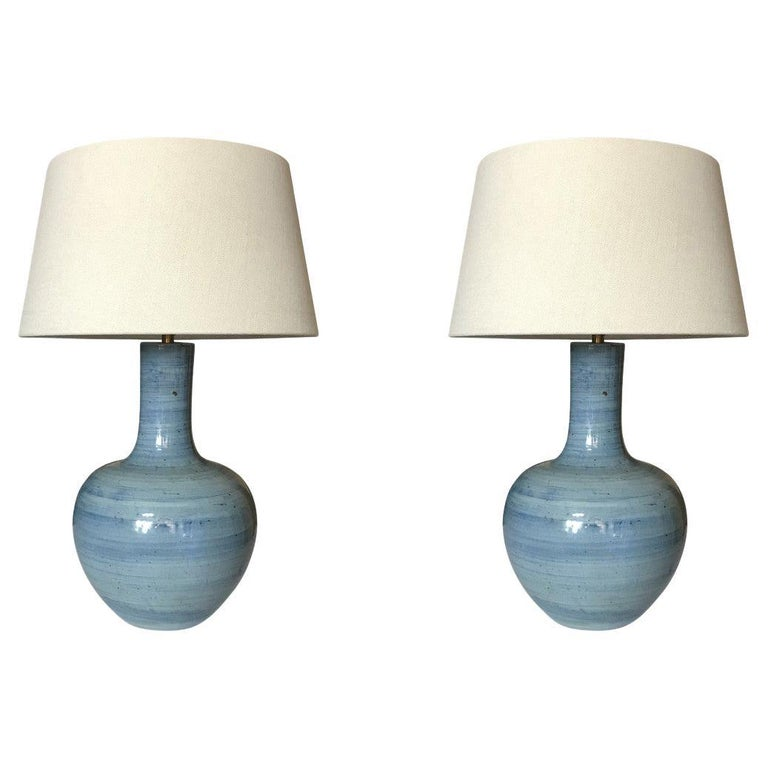 Blue Striated Design Round Base Pair Lamps, China, Contemporary For Sale