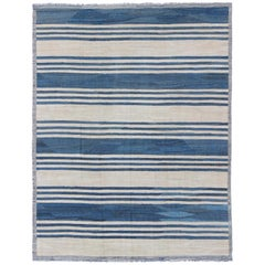 Blue Striped Design Flat-Weave Kilim Rug Versatile for Interiors