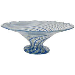 Blue Striped Murano Sweet Meat Dish