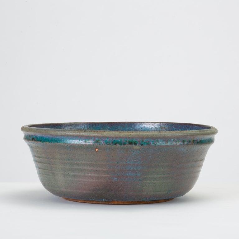 Mid-Century Modern Blue Studio Pottery Serving Bowl For Sale