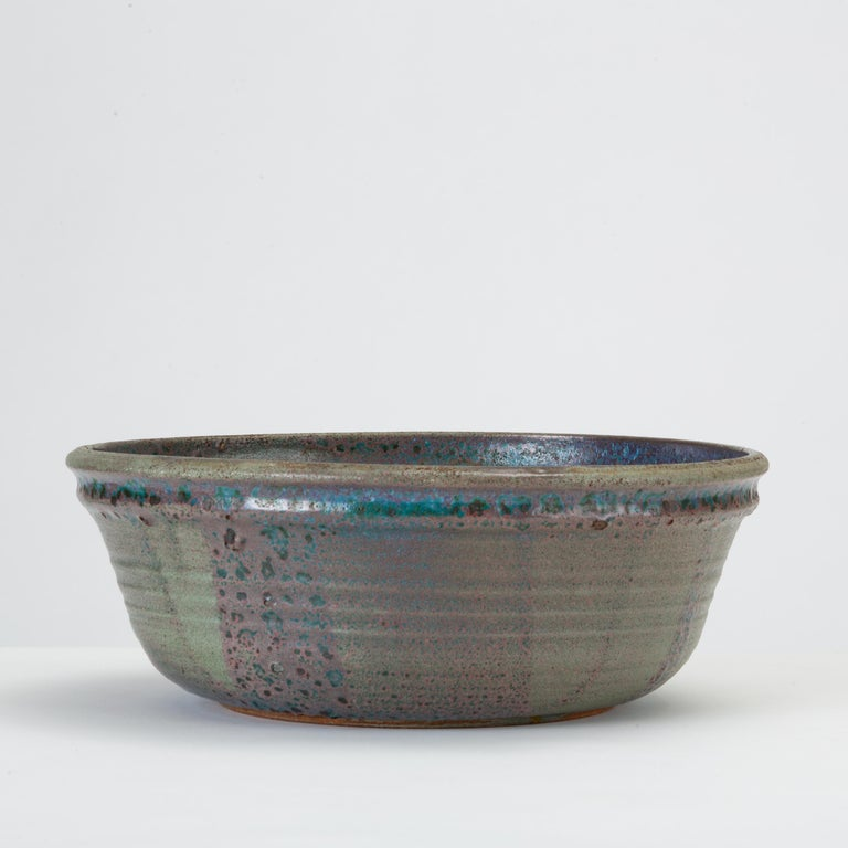 American Blue Studio Pottery Serving Bowl For Sale