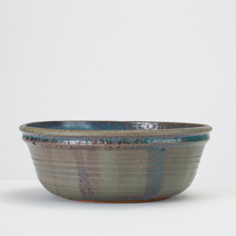 Glazed Blue Studio Pottery Serving Bowl For Sale