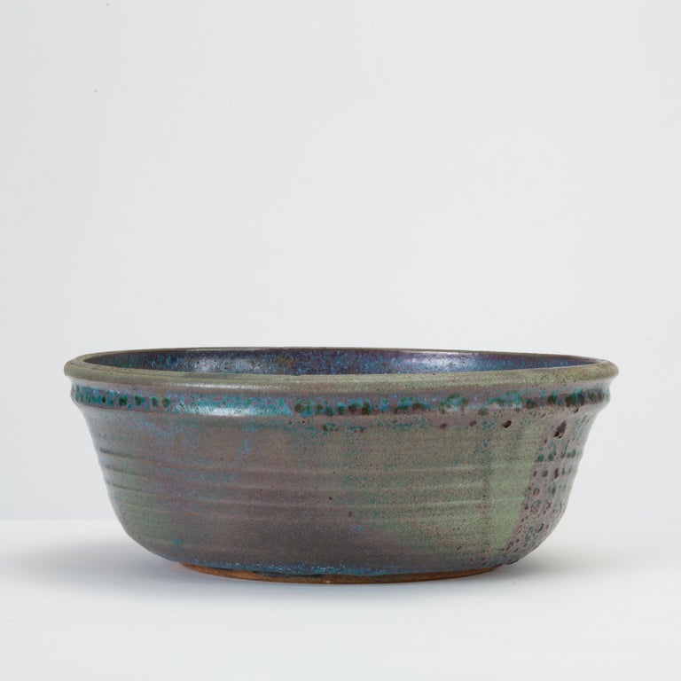 Blue Studio Pottery Serving Bowl In Good Condition For Sale In Los Angeles, CA
