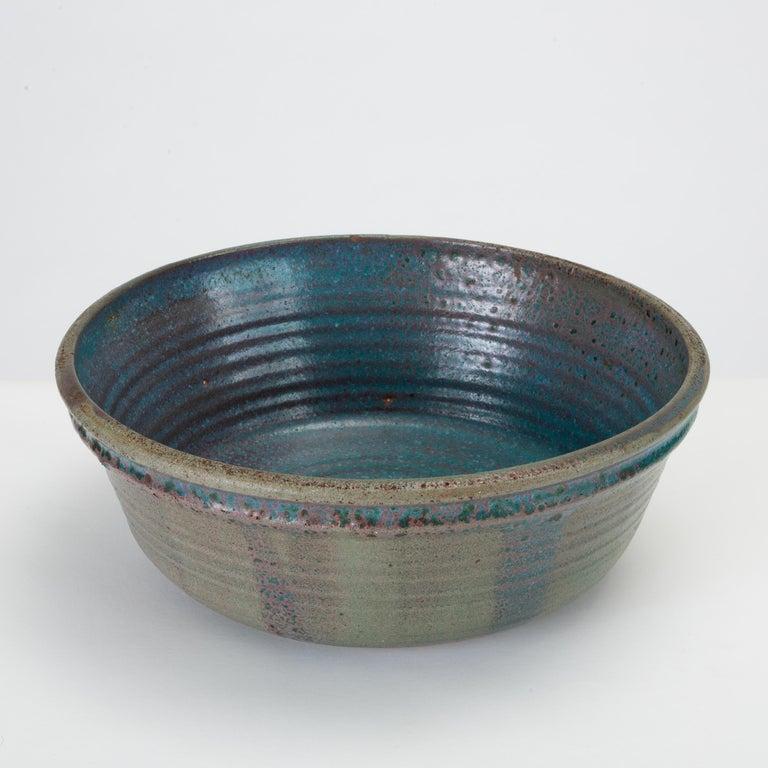 20th Century Blue Studio Pottery Serving Bowl For Sale