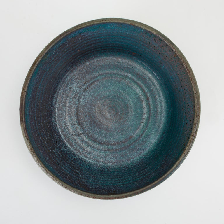 Stoneware Blue Studio Pottery Serving Bowl For Sale