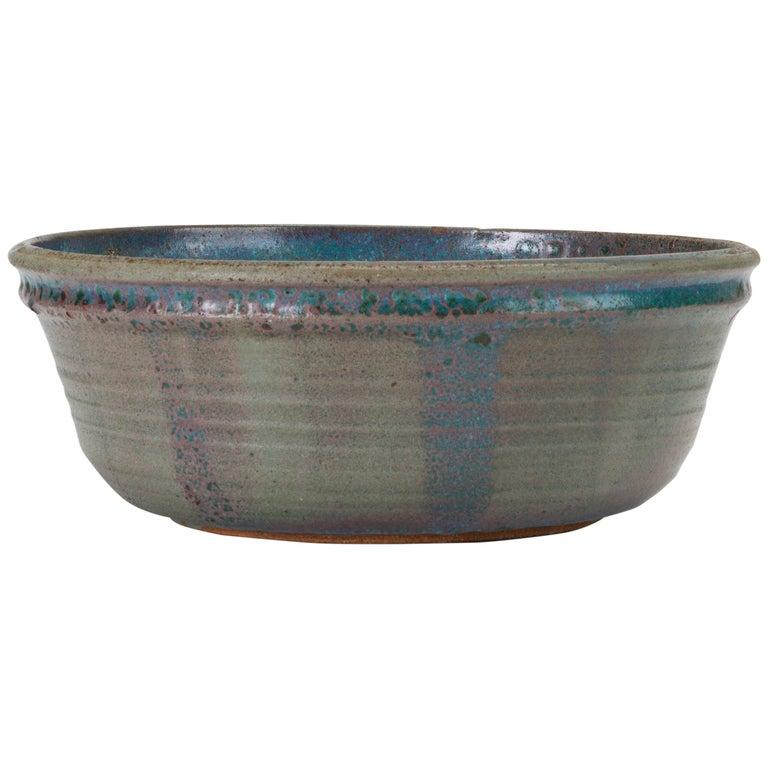 Blue Studio Pottery Serving Bowl For Sale