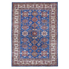 Blue Super Kazak Pure Wool Geometric Design Hand Knotted Oriental Rug