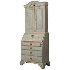 Blue Swedish Rococo Oak Desk Top Cabinet
