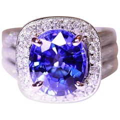 Blue Synthetic Oval Sapphire Engagement or Right Hand Ring 18 Karat White Gold