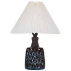 Blue Table Lamp by Einar Johansen Soholm 1960s, with Vintage Shade Included