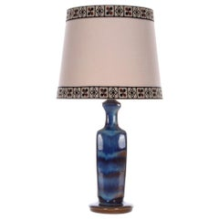 Blue Table Lamp by Michael Andersen & Son 1960s, with Vintage Shade Included