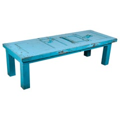 Blue Table Made from an Old Jail Door, 20th Century