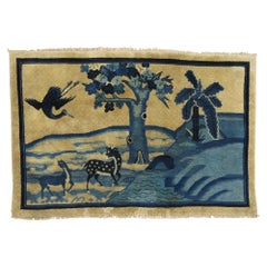 Blue Tan Chinese Animal Pictorial Landscape Rug