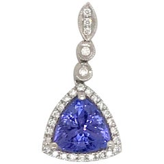 Blue Tanzanite Diamond Drop Pendant 2.68 Carat 18 Karat White Gold