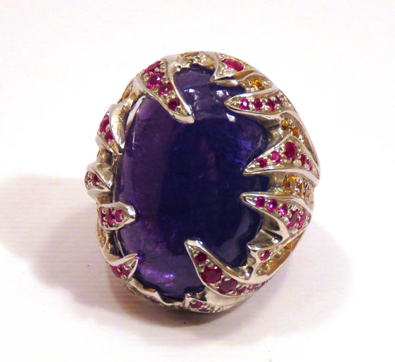 Blue Tanzanite Red Ruby Yellow Sapphire White Gold Cocktail Ring Made In Italy For Sale 5