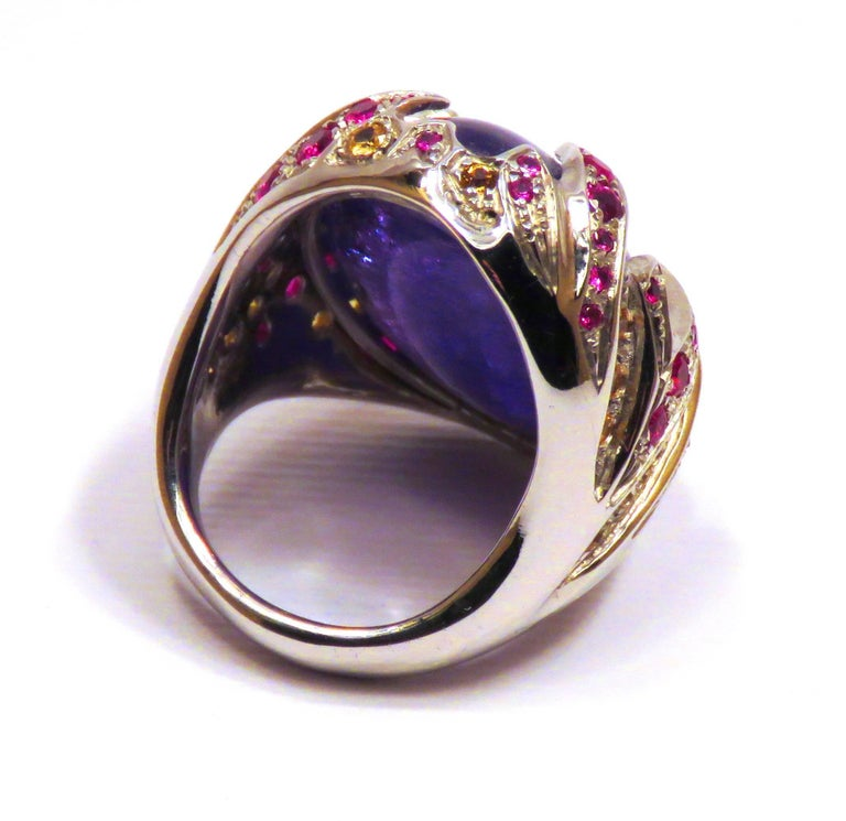 Blue Tanzanite Red Ruby Yellow Sapphire White Gold Cocktail Ring Made In Italy For Sale 4