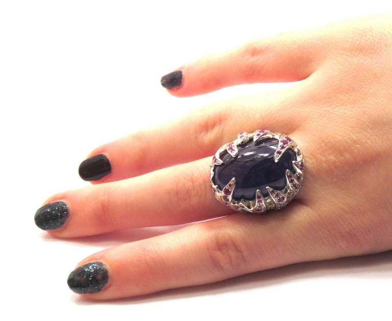 Cabochon Blue Tanzanite Red Ruby Yellow Sapphire White Gold Cocktail Ring Made In Italy For Sale