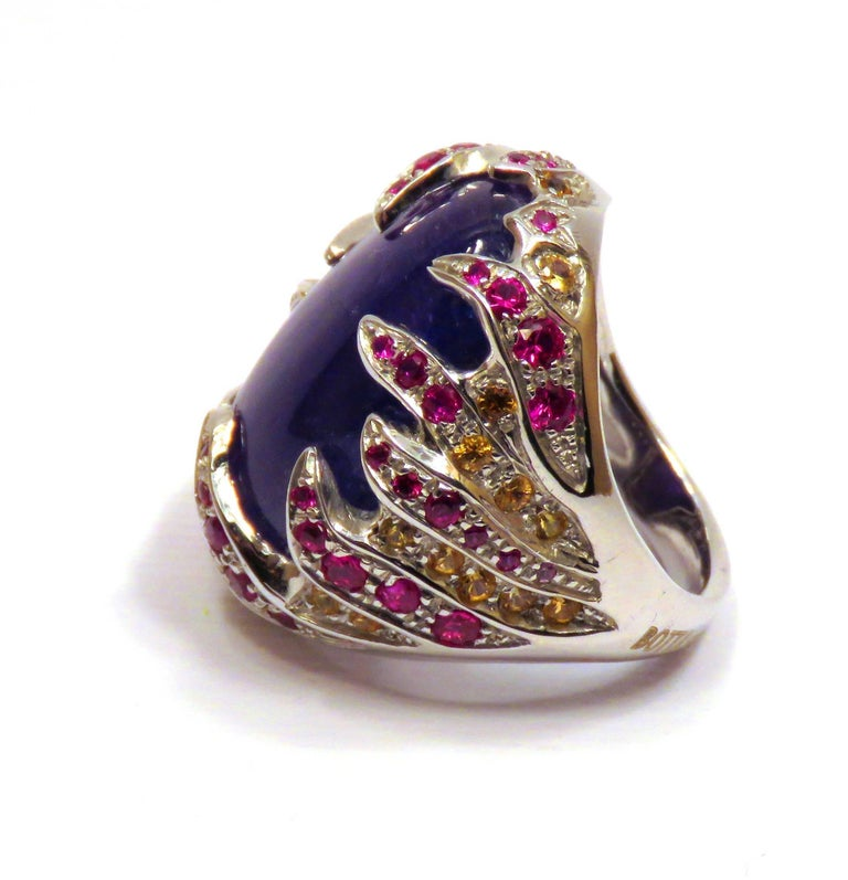 Blue Tanzanite Red Ruby Yellow Sapphire White Gold Cocktail Ring Made In Italy For Sale 2