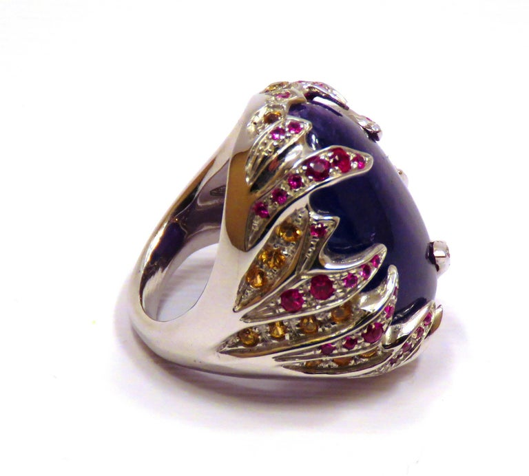 Blue Tanzanite Red Ruby Yellow Sapphire White Gold Cocktail Ring Made In Italy For Sale 3