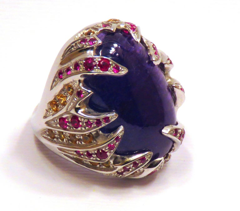 Blue Tanzanite Red Ruby Yellow Sapphire White Gold Cocktail Ring Made In Italy For Sale 1