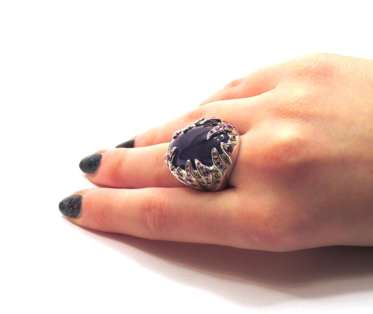 Women's Blue Tanzanite Red Ruby Yellow Sapphire White Gold Cocktail Ring Made In Italy For Sale