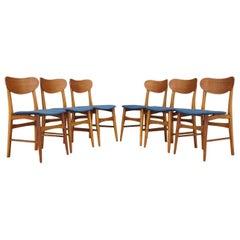 Blue Teak Chairs Vintage Danish Design, 1960s