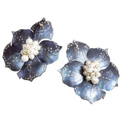 Blue Titanium Flower Earrings with Diamonds and Pearls