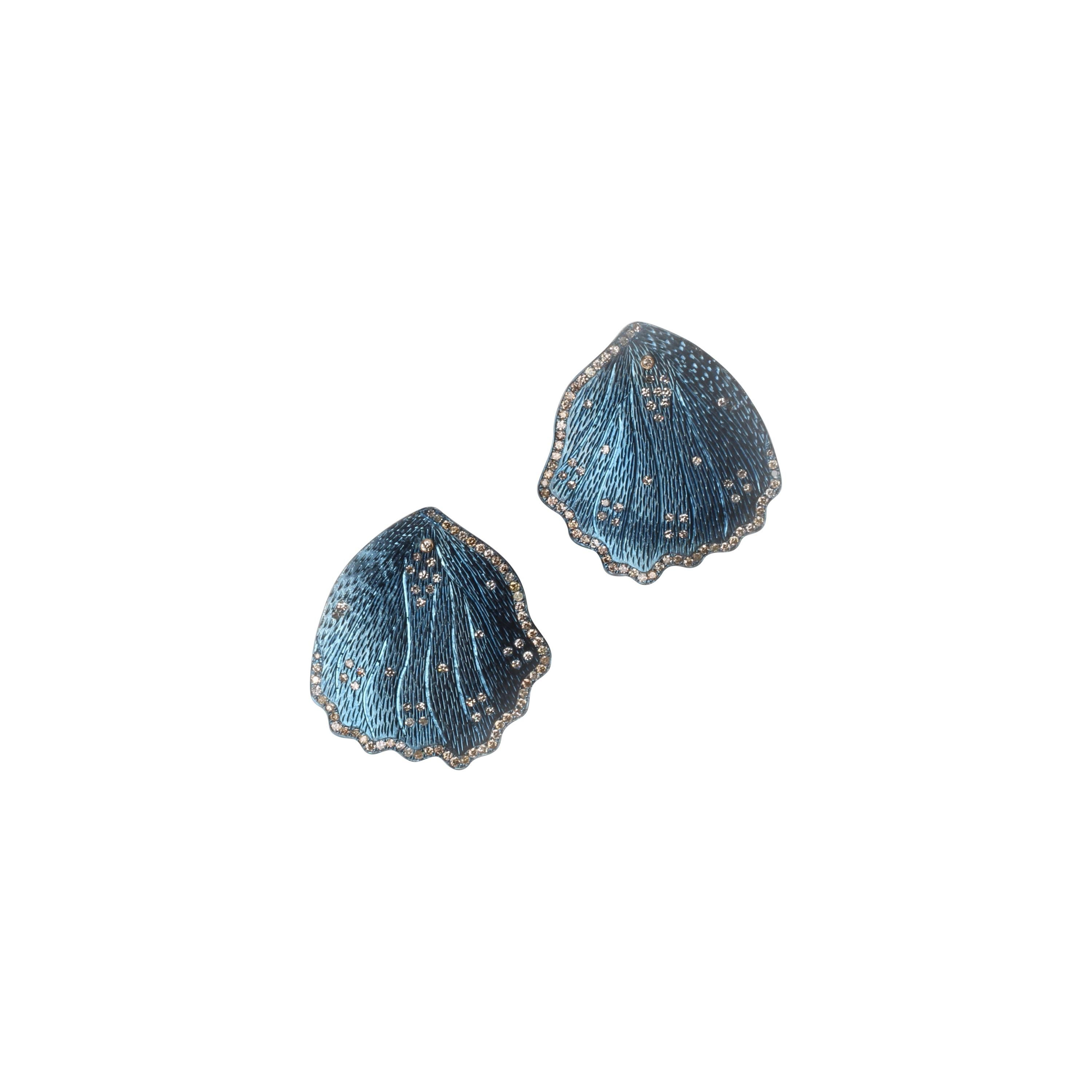 Blue Titanium Petal Earrings with Diamonds and 18kt Gold